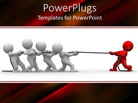 PowerPoint template displaying thug of war depiction of red 3D human against team of four
