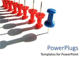 PowerPoint template displaying thumbtacks as a metaphor unique stand out leadership leading others