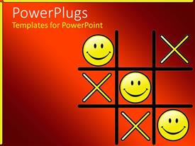PowerPlugs: PowerPoint template with tic Tac Toe game with winning smiley face Os