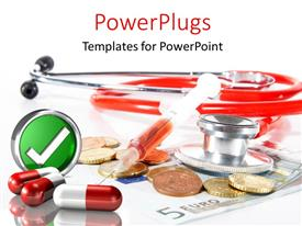 PowerPlugs: PowerPoint template with a tick sign with a stethoscope and white background