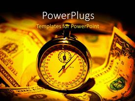 PowerPlugs: PowerPoint template with a ticking golden stop watch on some dollar bills