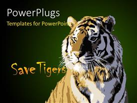 PowerPoint template displaying a tiger with the message of saving tigers