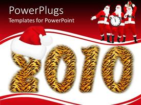 PowerPoint template displaying tiger striped 2010 with three men in Santa suits