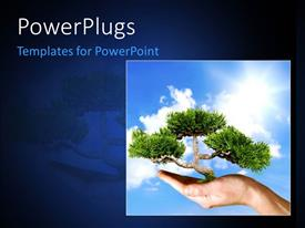 PowerPlugs: PowerPoint template with a tile with a hand and a tree growing on it