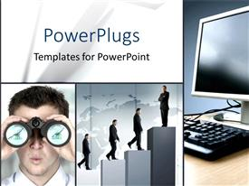 PowerPlugs: PowerPoint template with tiles with a computer, a man looking through binoculars