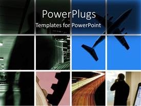 PowerPoint template displaying tiles with different views of a plane and business man