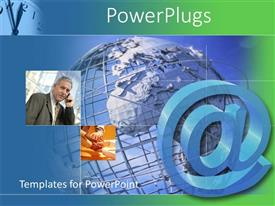 PowerPlugs: PowerPoint template with tiles with an earth globe and a business man