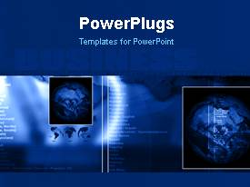 PowerPlugs: PowerPoint template with tiles with five globes and some text over a blue background