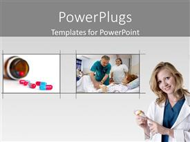 PowerPoint template displaying tiles showing a doctor and  nurse treating a patient