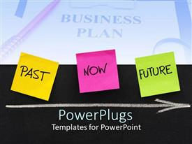 PowerPlugs: PowerPoint template with time for business plans past present future on black background