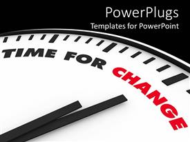 PowerPoint template displaying the time for change representation with blackish background