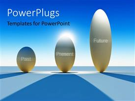 PowerPlugs: PowerPoint template with time concept using abstract diagrams of past present and future with blue color