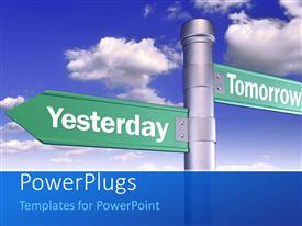 PowerPlugs: PowerPoint template with time concept using sign boards of yesterday and tomorrow with sky