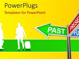 PowerPlugs: PowerPoint template with time concept , using sign post and humanoids having yellow color