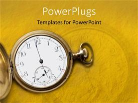 PowerPlugs: PowerPoint template with time metaphor with vintage antique gold pocket watch, yellow background