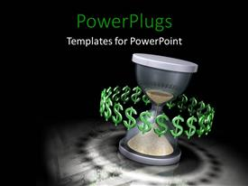 PowerPlugs: PowerPoint template with time is money hourglass black background metaphor profit salary income