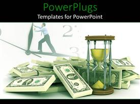 PowerPoint template displaying time is money metaphor with man on clock, stack of US bills, hour glass, productivity, efficiency