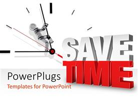 PowerPlugs: PowerPoint template with tIME SAVING depiction with 3D man pulling back hands of time