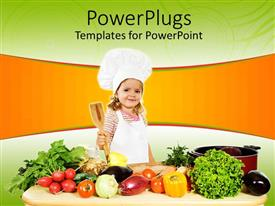 PowerPlugs: PowerPoint template with tiny girl chef holding wooden cooking spoon surrounded by vegetables