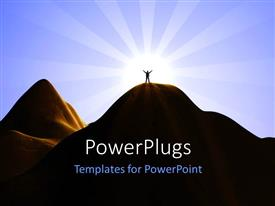 PowerPoint template displaying tiny shadow of person standing atop mountain