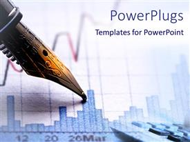 PowerPlugs: PowerPoint template with tip of elegant pen on financial graphic chart with bars and financial line