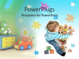 PPT theme having toddler girl surrounded with several toys, alphabetical blocks, teddy bear