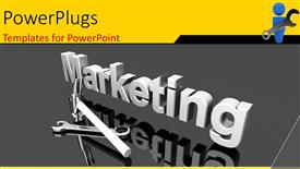 PowerPoint template displaying a large 3D text that spells out the word :marketing