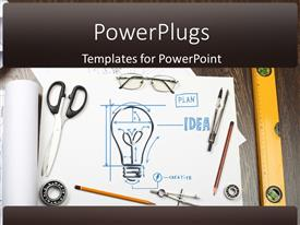 PowerPlugs: PowerPoint template with tools and papers on the table with industrial symbols