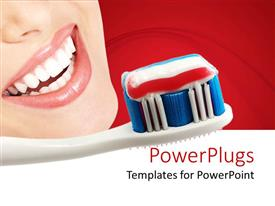 PowerPlugs: PowerPoint template with toothbrush with toothpaste next to smiling woman in red background