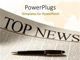 PowerPlugs: PowerPoint template with top news headline on a newspaper page with world map in background