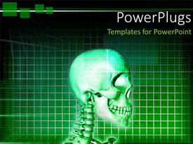 PowerPlugs: PowerPoint template with top view of a human skeletal system on a green background
