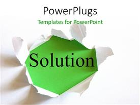 PowerPlugs: PowerPoint template with torn white paper reveals solution on green surface