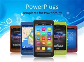 PowerPlugs: PowerPoint template with touch screen smart phones arranged with one leading and others in formation