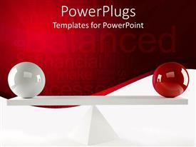 PowerPlugs: PowerPoint template with tow balls of different colors balanced on a wooden piece