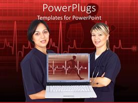 I love this design enhanced with tow female doctors with a presentation on a laptop