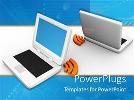 PowerPlugs: PowerPoint template with tow laptops connected to each other with the help of wifi