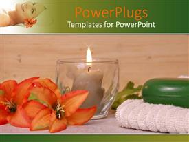 PowerPlugs: PowerPoint template with towel flower candle beside a glass cup with a candle