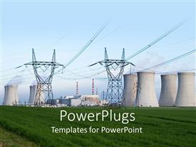 PowerPoint template displaying tower for Electricity Production