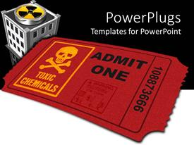 PowerPoint template displaying toxic pollution metaphor with toxic symbols, skull and crossbones, ticket, building
