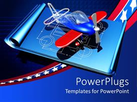 PowerPoint template displaying toy airplane, plane model on blueprints with stars of the us flag on blue background