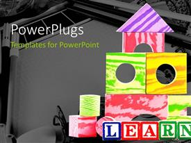PowerPlugs: PowerPoint template with a number of colorful pieces with a map in background
