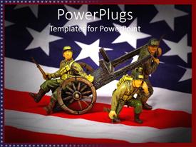 PowerPoint template displaying toy soldiers with cart on American flag background, military history
