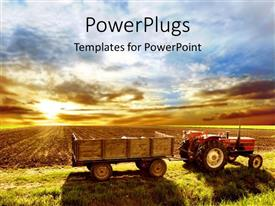 PowerPoint template displaying a tractor trolly on a field