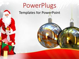 PowerPlugs: PowerPoint template with a close up view of two Christmas ornaments with Santa clause beside them