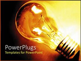 PowerPlugs: PowerPoint template with traditional lightbulb, light bulb, glowing yellow lightbulb on dark background
