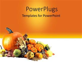 PowerPlugs: PowerPoint template with traditional symbols of Thanksgiving Day Pumpkins over orange background
