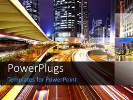 PowerPlugs: PowerPoint template with beautiful night view of urban city with traffic lights and skyscrapers