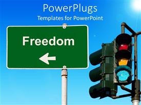 PowerPlugs: PowerPoint template with traffic light beside a freedom signpost