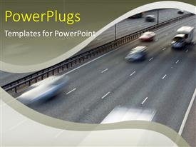 PPT layouts having traffic motion blurred on a motorway