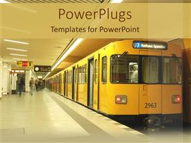 PowerPoint template displaying a train station with a stopped train and a number of passengers